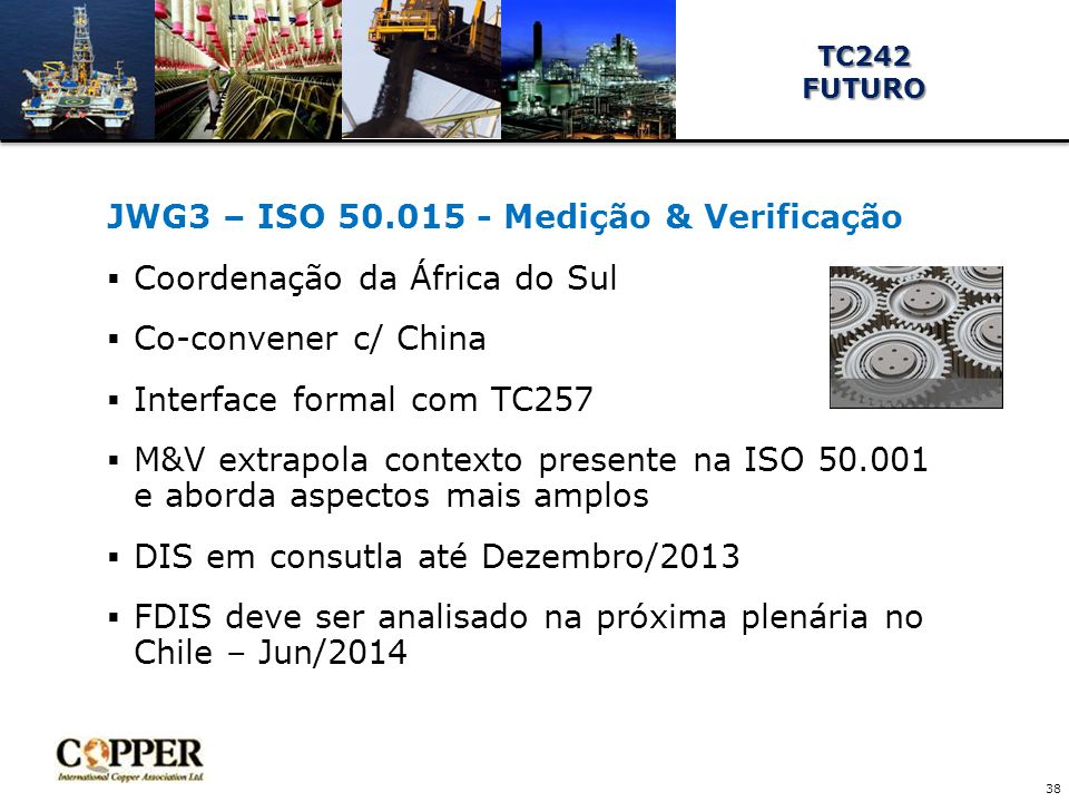 JWG3 – ISO 50.015 - Medição & Verificação  Coordenação da África do Sul  Co-convener c/ China  Interface formal com TC257  M&V extrapola contexto