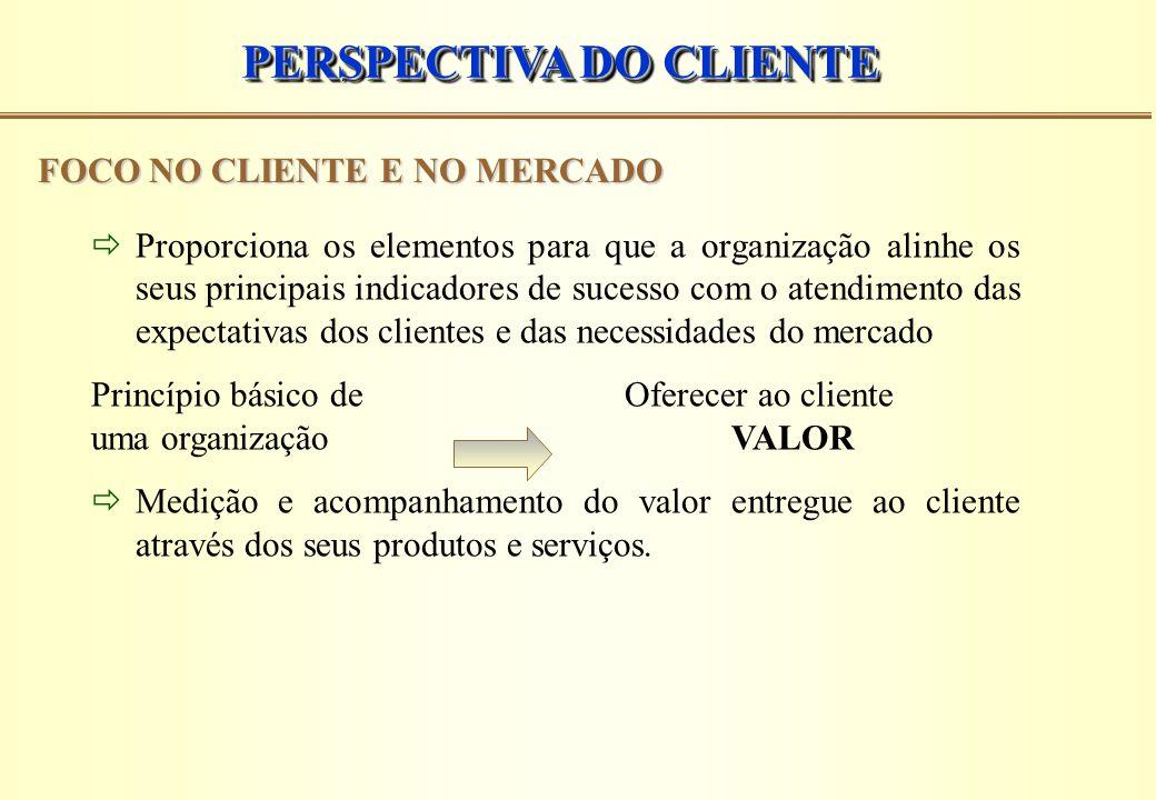 PERSPECTIVA DO CLIENTE FOCO NO CLIENTE E NO MERCADO  Proporciona os elementos para que a organização alinhe os seus principais indicadores de sucesso