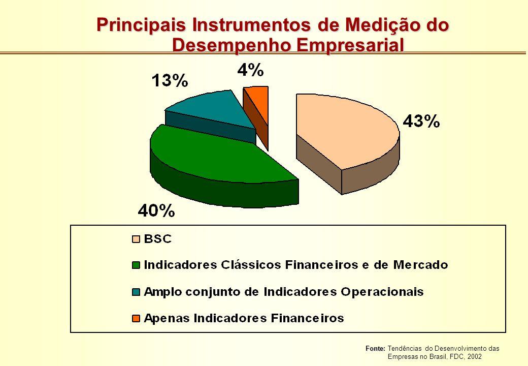 Principais Instrumentos de Medição do Desempenho Empresarial Fonte Fonte: Tendências do Desenvolvimento das Empresas no Brasil, FDC, 2002