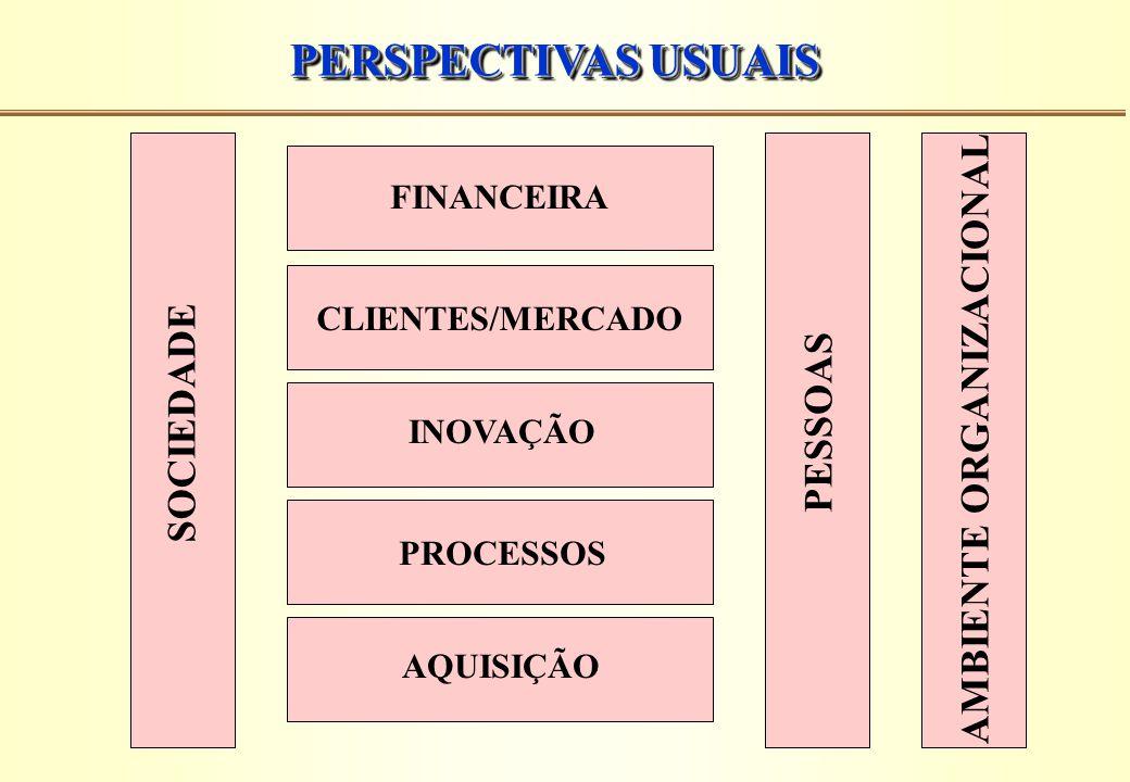 PERSPECTIVAS USUAIS FINANCEIRA CLIENTES/MERCADO INOVAÇÃO PROCESSOS AQUISIÇÃO SOCIEDADE PESSOAS AMBIENTE ORGANIZACIONAL