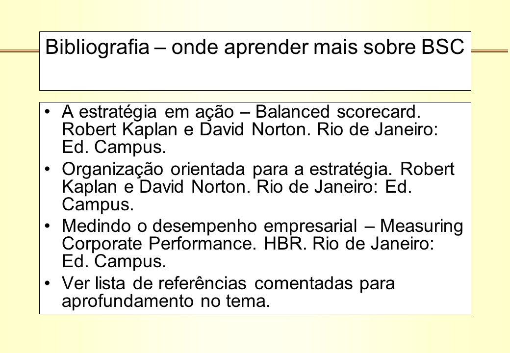 Bibliografia – onde aprender mais sobre BSC A estratégia em ação – Balanced scorecard. Robert Kaplan e David Norton. Rio de Janeiro: Ed. Campus. Organ