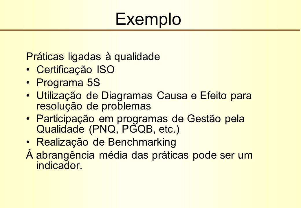 Exemplo Práticas ligadas à qualidade Certificação ISO Programa 5S Utilização de Diagramas Causa e Efeito para resolução de problemas Participação em p