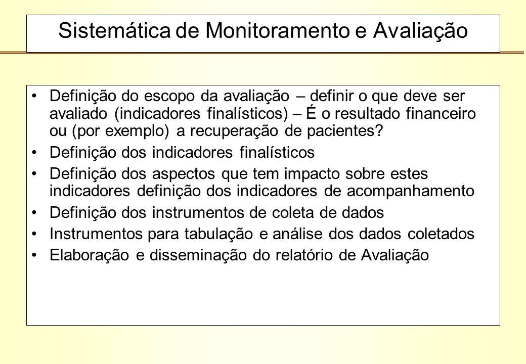 Sistemática de Monitoramento e Avaliação Definição do escopo da avaliação – definir o que deve ser avaliado (indicadores finalísticos) – É o resultado