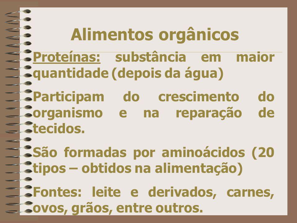 Exemplos: Iodo (frutos do mar, sal iodado) Zinco (Amplamente distribuído) Magnésio (cereais int., folhas verdes) Cobre (carnes e leguminosas) Manganês