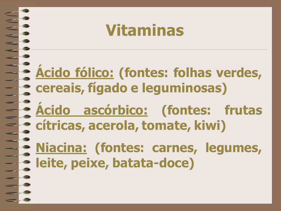 Vitaminas Vitamina B 1 (fontes: carnes, fígado, cereais integrais, leguminosas). Vitamina B 2 (fontes: leite, ovos, espinafre, feijão, frutas, soja) V