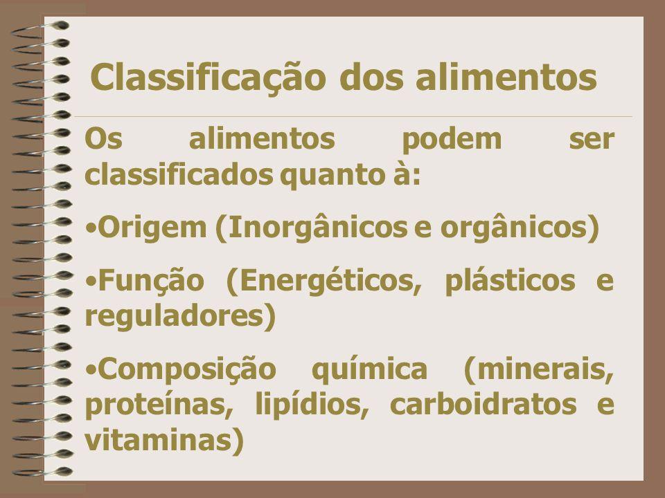 Classificação dos alimentos Os alimentos podem ser classificados quanto à: Origem (Inorgânicos e orgânicos) Função (Energéticos, plásticos e reguladores) Composição química (minerais, proteínas, lipídios, carboidratos e vitaminas)