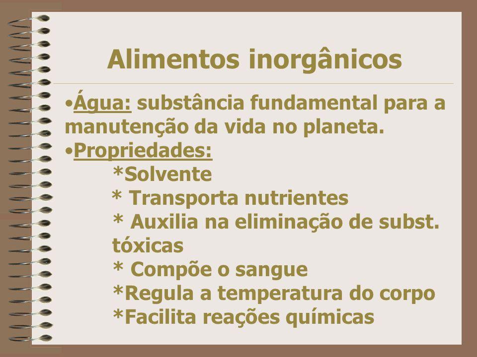 Alimentos inorgânicos Água: substância fundamental para a manutenção da vida no planeta.