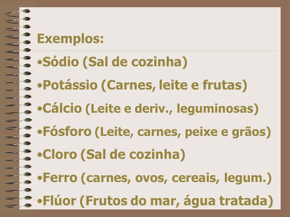 Exemplos: Sódio (Sal de cozinha) Potássio (Carnes, leite e frutas) Cálcio (Leite e deriv., leguminosas) Fósforo (Leite, carnes, peixe e grãos) Cloro (Sal de cozinha) Ferro (carnes, ovos, cereais, legum.) Flúor (Frutos do mar, água tratada)