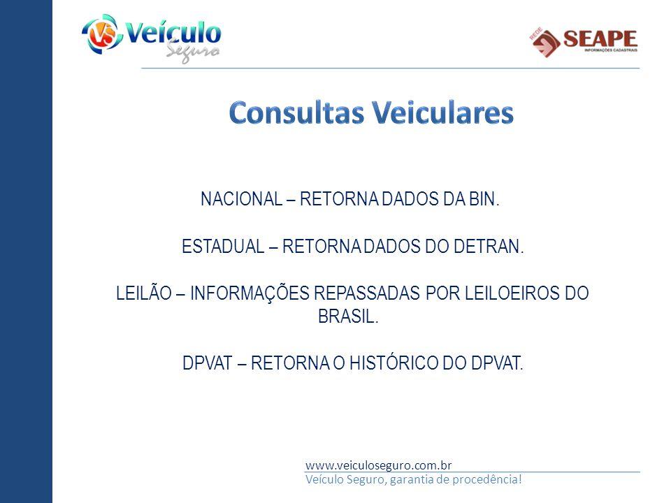 www.veiculoseguro.com.br Veículo Seguro, garantia de procedência! NACIONAL – RETORNA DADOS DA BIN. ESTADUAL – RETORNA DADOS DO DETRAN. LEILÃO – INFORM