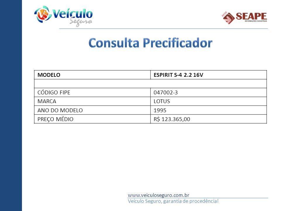 www.veiculoseguro.com.br Veículo Seguro, garantia de procedência! MODELOESPIRIT S-4 2.2 16V CÓDIGO FIPE047002-3 MARCALOTUS ANO DO MODELO1995 PREÇO MÉD