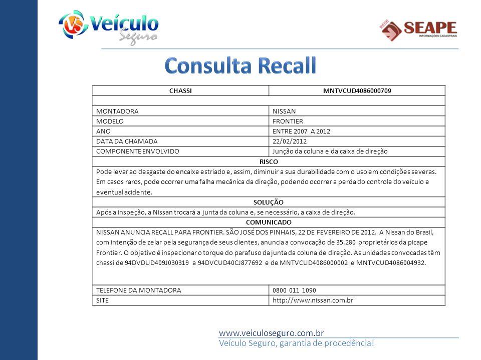 www.veiculoseguro.com.br Veículo Seguro, garantia de procedência! CHASSIMNTVCUD4086000709 MONTADORANISSAN MODELOFRONTIER ANOENTRE 2007 A 2012 DATA DA