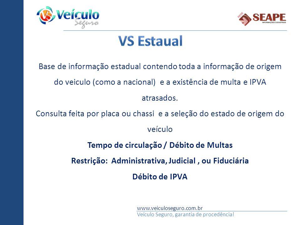 www.veiculoseguro.com.br Veículo Seguro, garantia de procedência! Base de informação estadual contendo toda a informação de origem do veiculo (como a