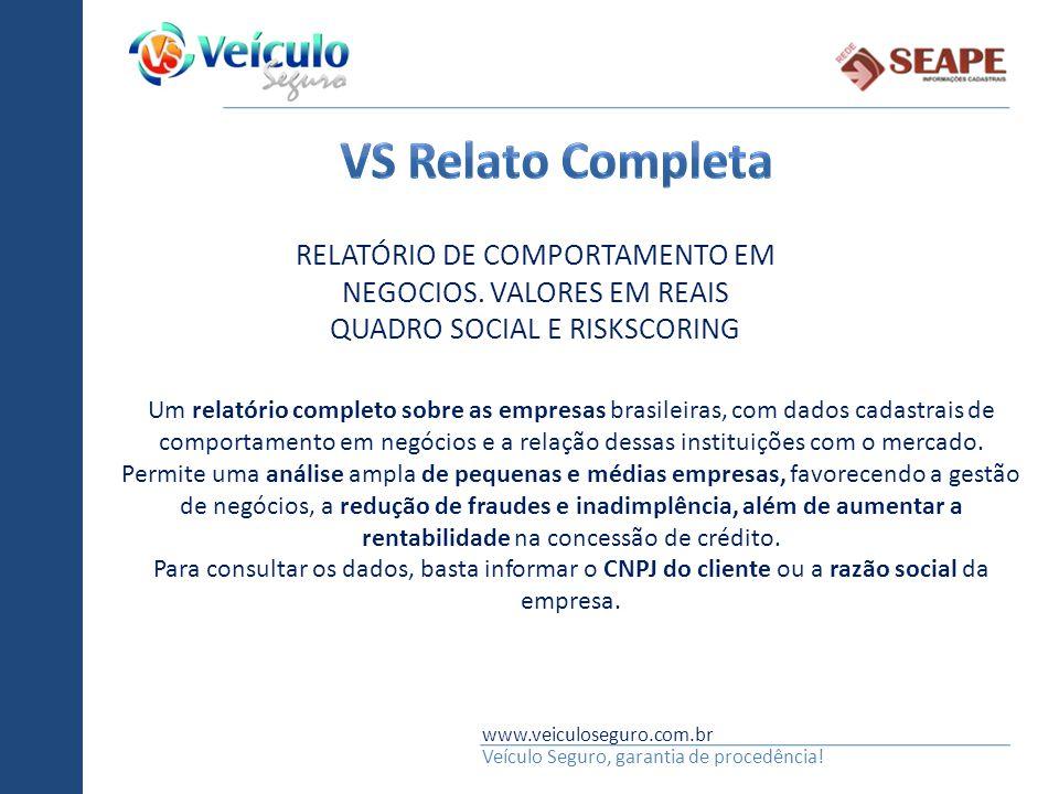 www.veiculoseguro.com.br Veículo Seguro, garantia de procedência! Um relatório completo sobre as empresas brasileiras, com dados cadastrais de comport