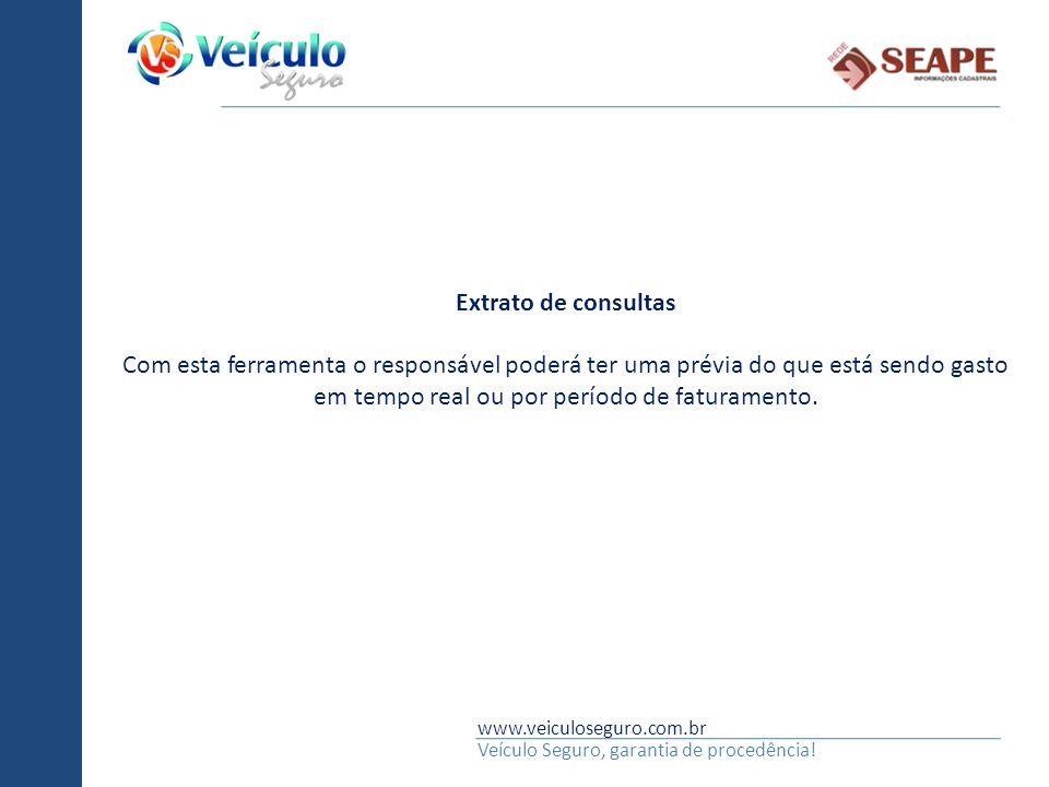 www.veiculoseguro.com.br Veículo Seguro, garantia de procedência! Extrato de consultas Com esta ferramenta o responsável poderá ter uma prévia do que