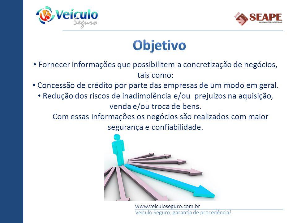 www.veiculoseguro.com.br Veículo Seguro, garantia de procedência! Fornecer informações que possibilitem a concretização de negócios, tais como: Conces