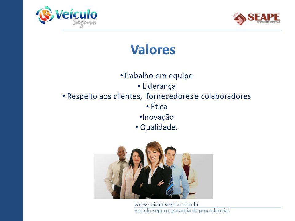 www.veiculoseguro.com.br Veículo Seguro, garantia de procedência! Trabalho em equipe Liderança Respeito aos clientes, fornecedores e colaboradores Éti