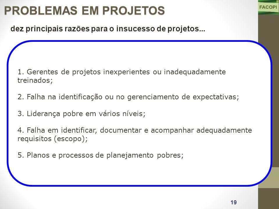 1. Gerentes de projetos inexperientes ou inadequadamente treinados; 2.