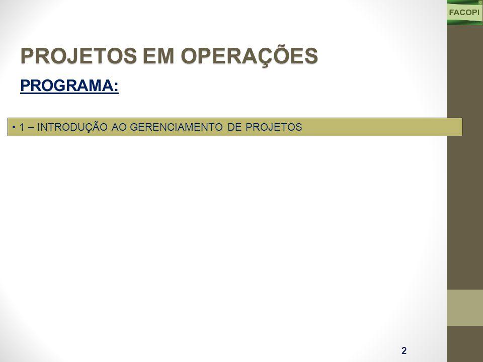 PROGRAMA: 1 – INTRODUÇÃO AO GERENCIAMENTO DE PROJETOS 2 PROJETOS EM OPERAÇÕES