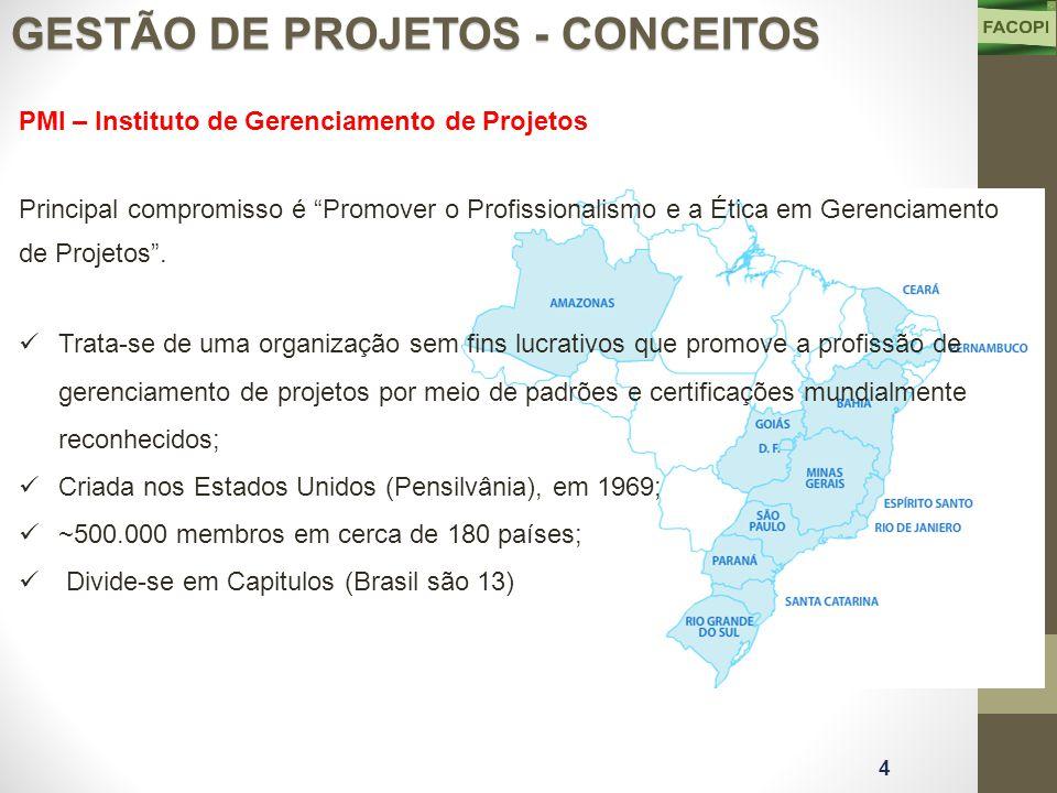 PMI – Instituto de Gerenciamento de Projetos Principal compromisso é Promover o Profissionalismo e a Ética em Gerenciamento de Projetos .