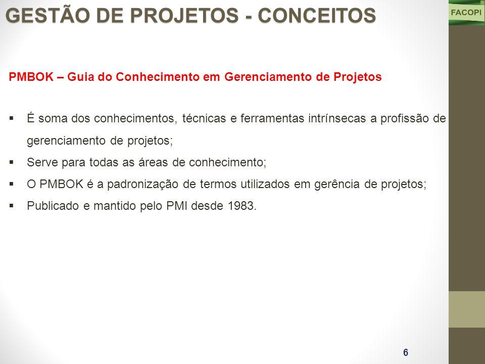PMBOK – Guia do Conhecimento em Gerenciamento de Projetos  É soma dos conhecimentos, técnicas e ferramentas intrínsecas a profissão de gerenciamento de projetos;  Serve para todas as áreas de conhecimento;  O PMBOK é a padronização de termos utilizados em gerência de projetos;  Publicado e mantido pelo PMI desde 1983.