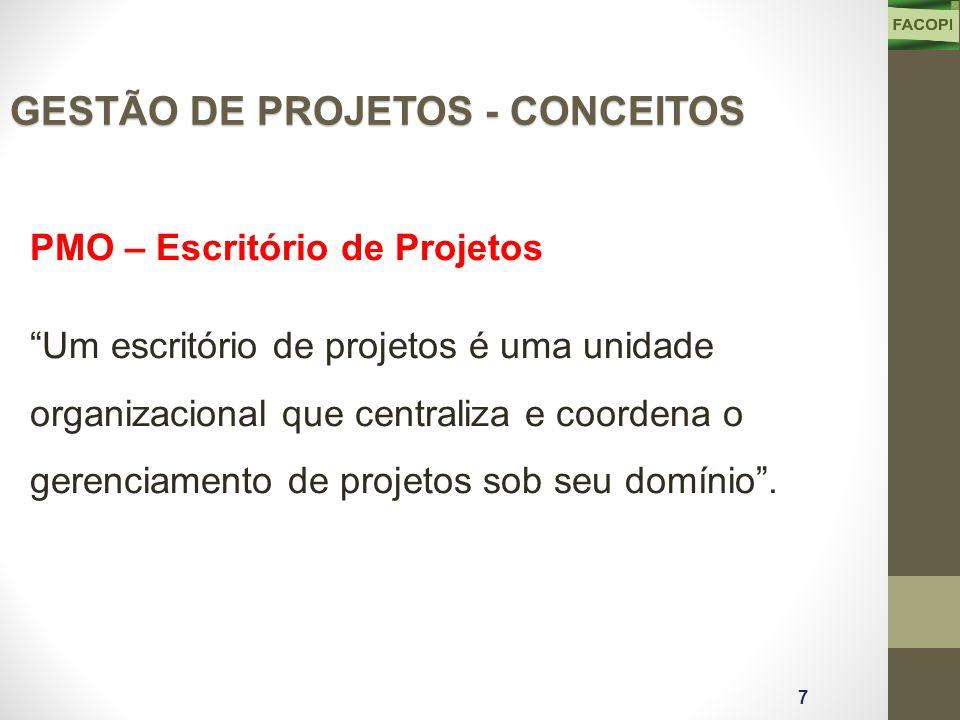 PMO – Escritório de Projetos Um escritório de projetos é uma unidade organizacional que centraliza e coordena o gerenciamento de projetos sob seu domínio .