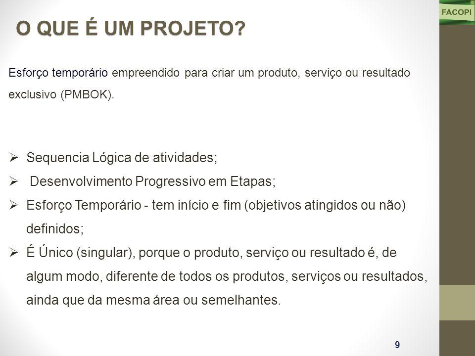 Esforço temporário empreendido para criar um produto, serviço ou resultado exclusivo (PMBOK).