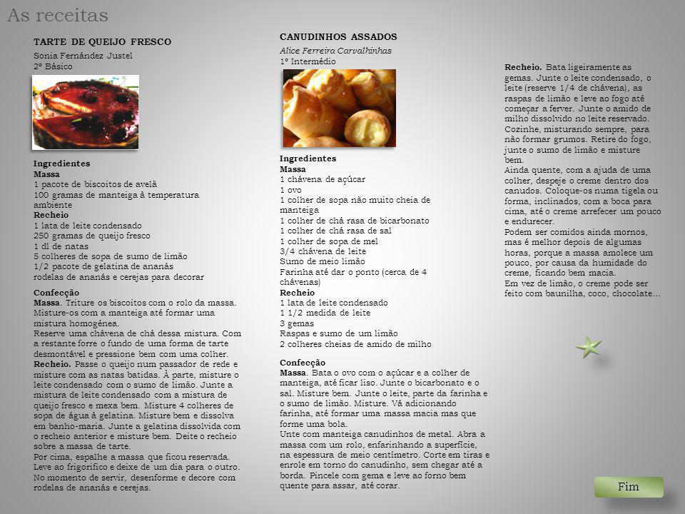 As receitas TARTE DE QUEIJO FRESCO Sonia Fernández Justel 2º Básico Ingredientes Massa 1 pacote de biscoitos de avelã 100 gramas de manteiga à tempera