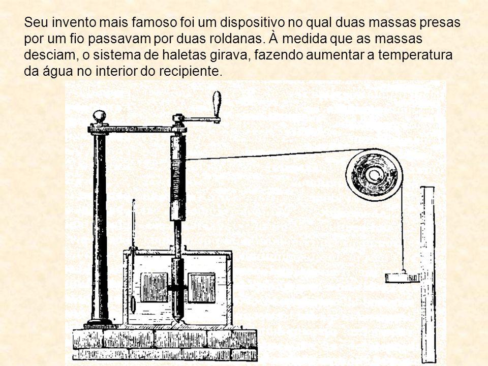 Seu invento mais famoso foi um dispositivo no qual duas massas presas por um fio passavam por duas roldanas. À medida que as massas desciam, o sistema