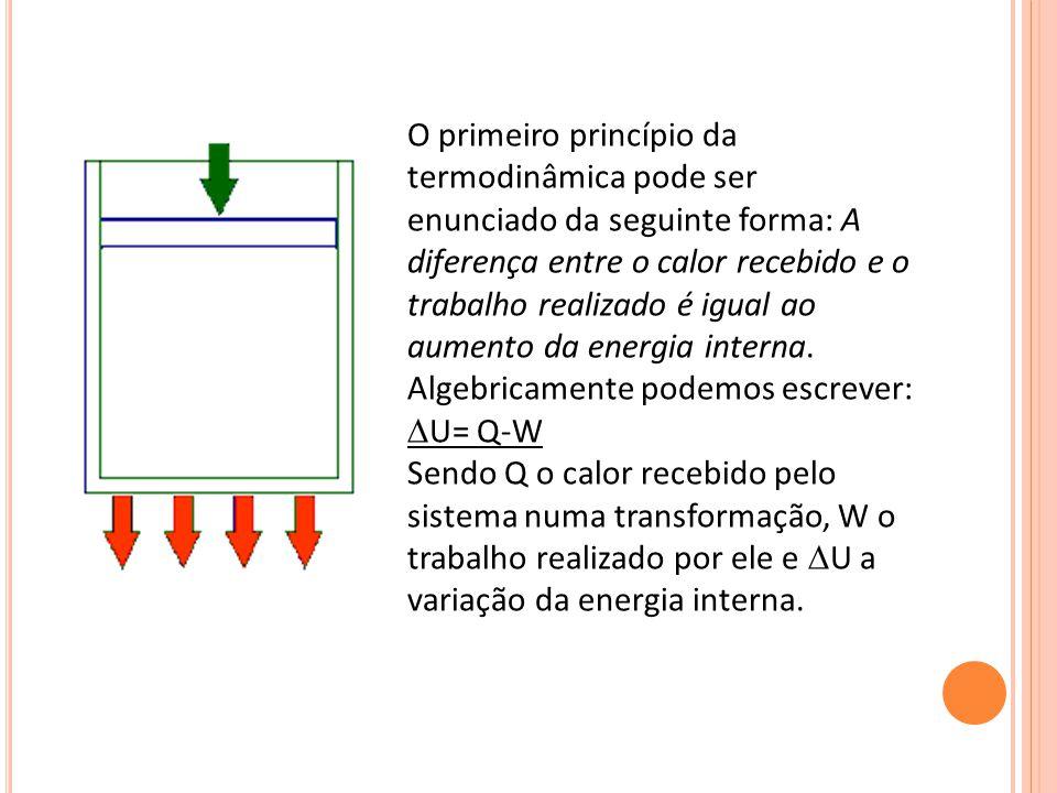 O primeiro princípio da termodinâmica pode ser enunciado da seguinte forma: A diferença entre o calor recebido e o trabalho realizado é igual ao aumen