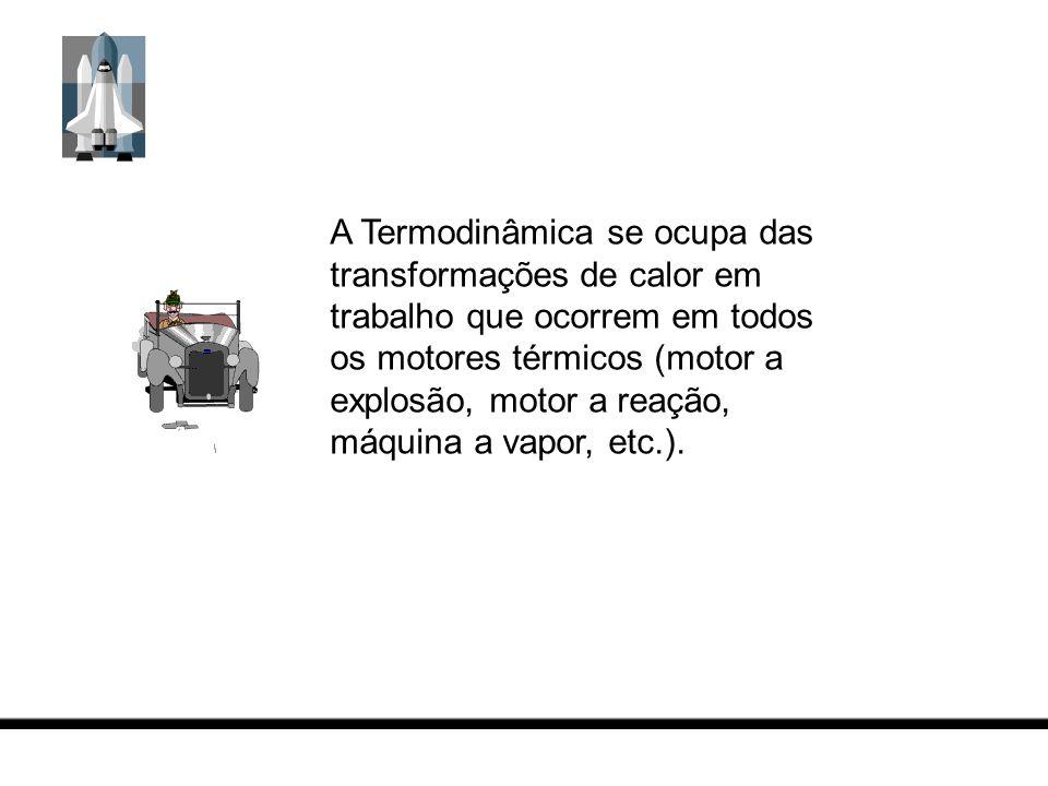 A Termodinâmica se ocupa das transformações de calor em trabalho que ocorrem em todos os motores térmicos (motor a explosão, motor a reação, máquina a