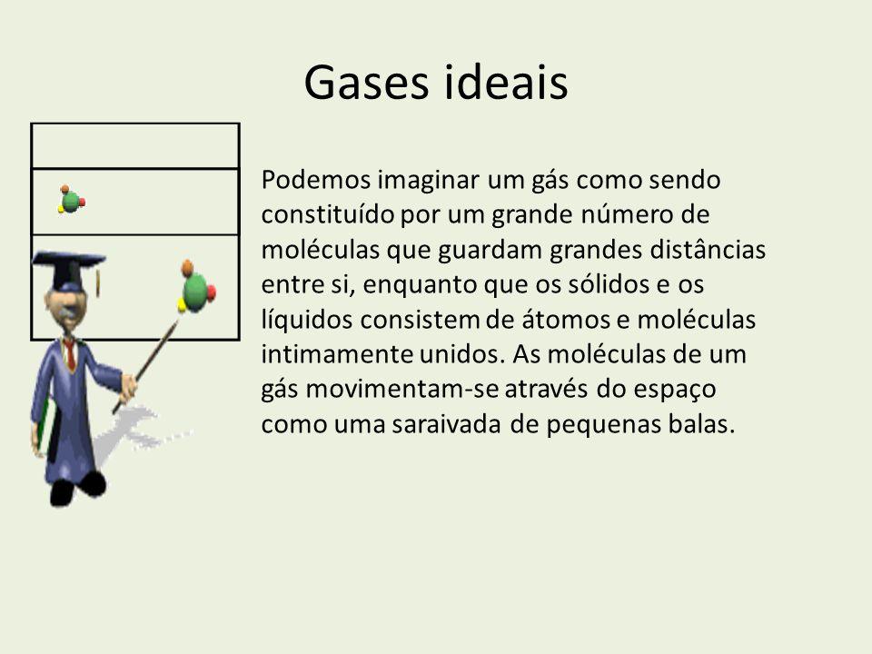 Gases ideais Podemos imaginar um gás como sendo constituído por um grande número de moléculas que guardam grandes distâncias entre si, enquanto que os
