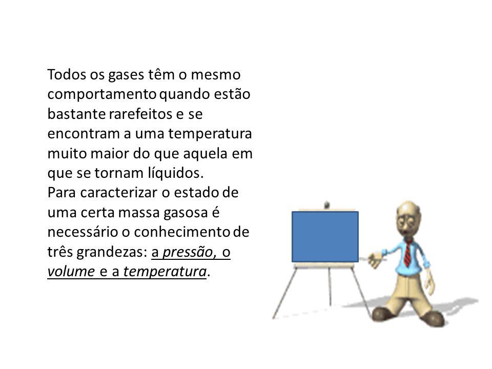 Todos os gases têm o mesmo comportamento quando estão bastante rarefeitos e se encontram a uma temperatura muito maior do que aquela em que se tornam