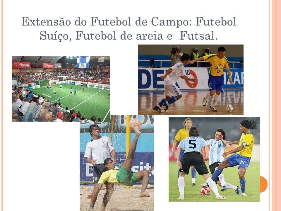 Extensão do Futebol de Campo: Futebol Suíço, Futebol de areia e Futsal.