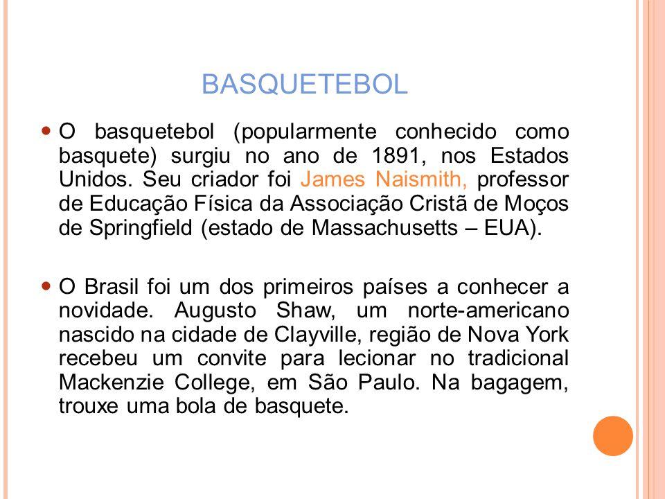 BASQUETEBOL O basquetebol (popularmente conhecido como basquete) surgiu no ano de 1891, nos Estados Unidos.