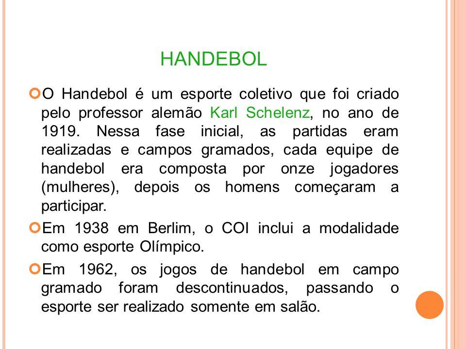HANDEBOL O Handebol é um esporte coletivo que foi criado pelo professor alemão Karl Schelenz, no ano de 1919.
