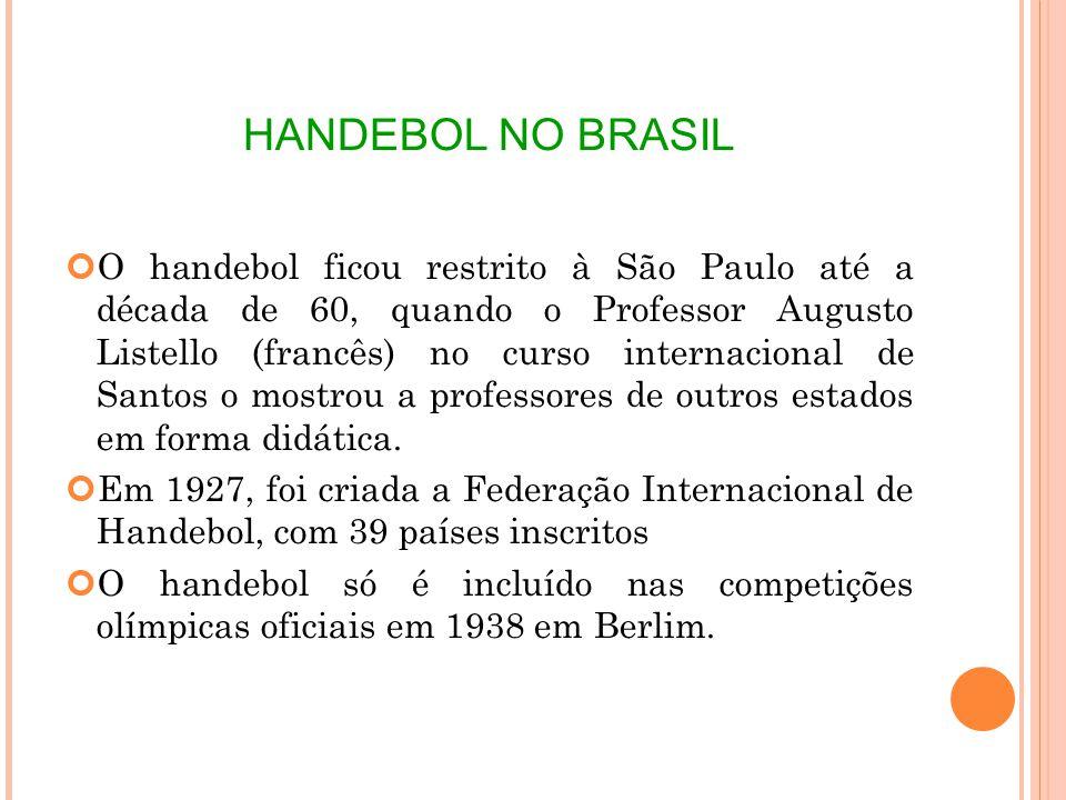 HANDEBOL NO BRASIL O handebol ficou restrito à São Paulo até a década de 60, quando o Professor Augusto Listello (francês) no curso internacional de Santos o mostrou a professores de outros estados em forma didática.