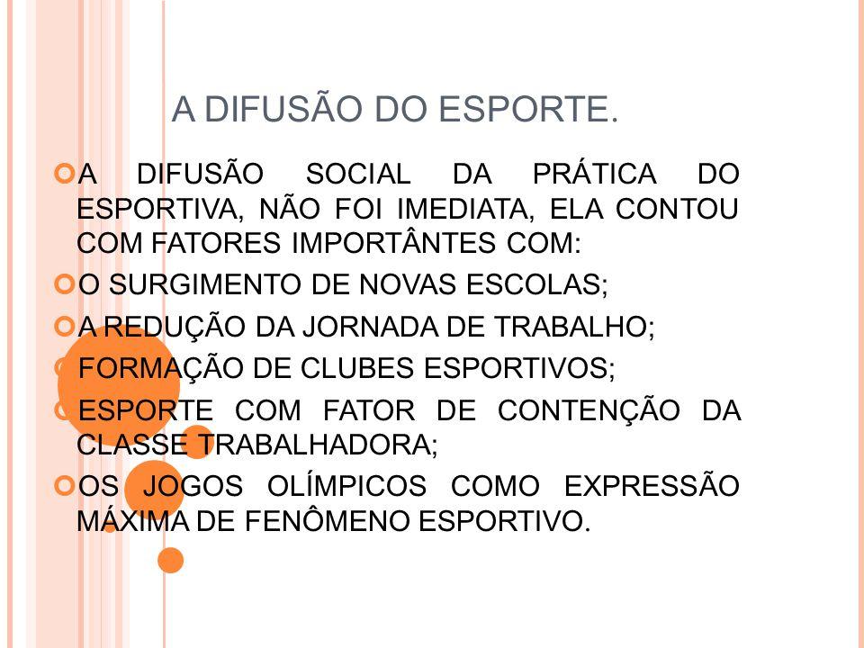A DIFUSÃO DO ESPORTE.