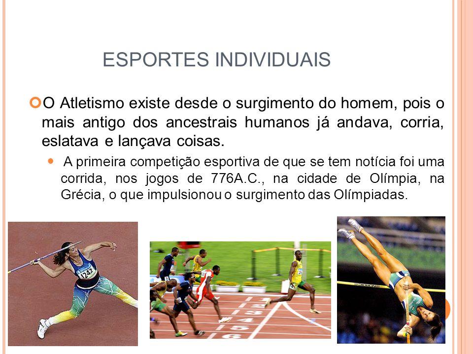 ESPORTES INDIVIDUAIS O Atletismo existe desde o surgimento do homem, pois o mais antigo dos ancestrais humanos já andava, corria, eslatava e lançava coisas.