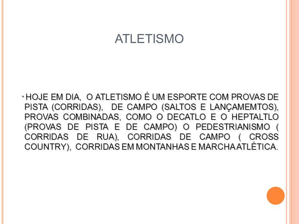 ATLETISMO * HOJE EM DIA, O ATLETISMO É UM ESPORTE COM PROVAS DE PISTA (CORRIDAS), DE CAMPO (SALTOS E LANÇAMEMTOS), PROVAS COMBINADAS, COMO O DECATLO E O HEPTALTLO (PROVAS DE PISTA E DE CAMPO) O PEDESTRIANISMO ( CORRIDAS DE RUA), CORRIDAS DE CAMPO ( CROSS COUNTRY), CORRIDAS EM MONTANHAS E MARCHA ATLÉTICA.