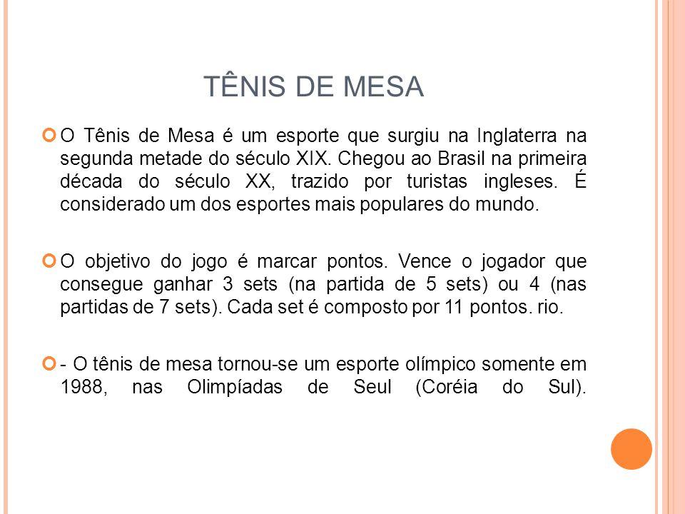 TÊNIS DE MESA O Tênis de Mesa é um esporte que surgiu na Inglaterra na segunda metade do século XIX.