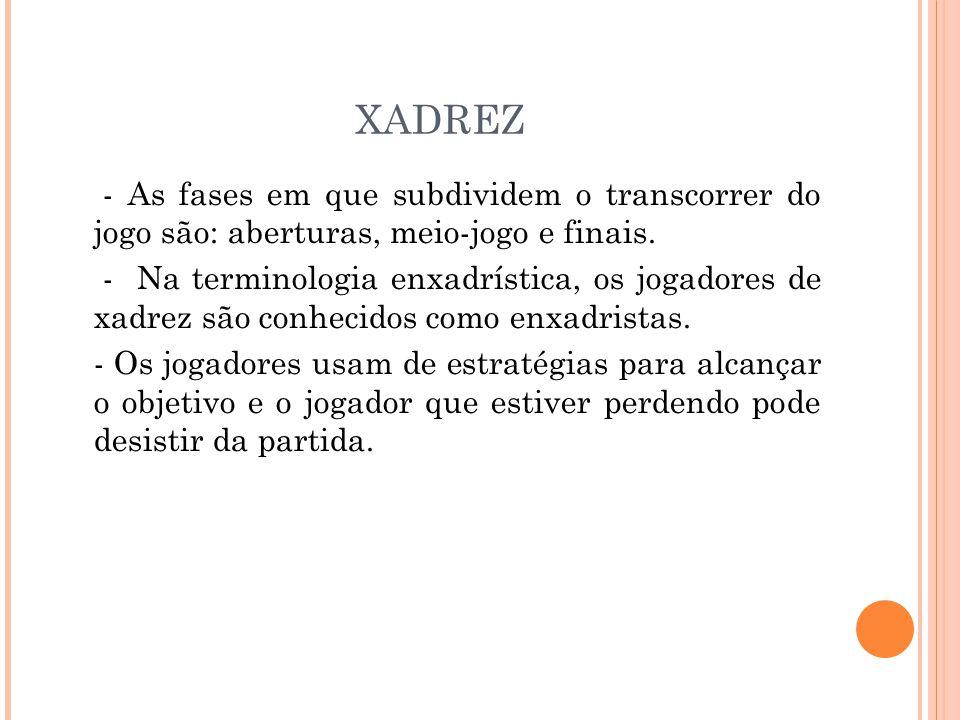 XADREZ - As fases em que subdividem o transcorrer do jogo são: aberturas, meio-jogo e finais.