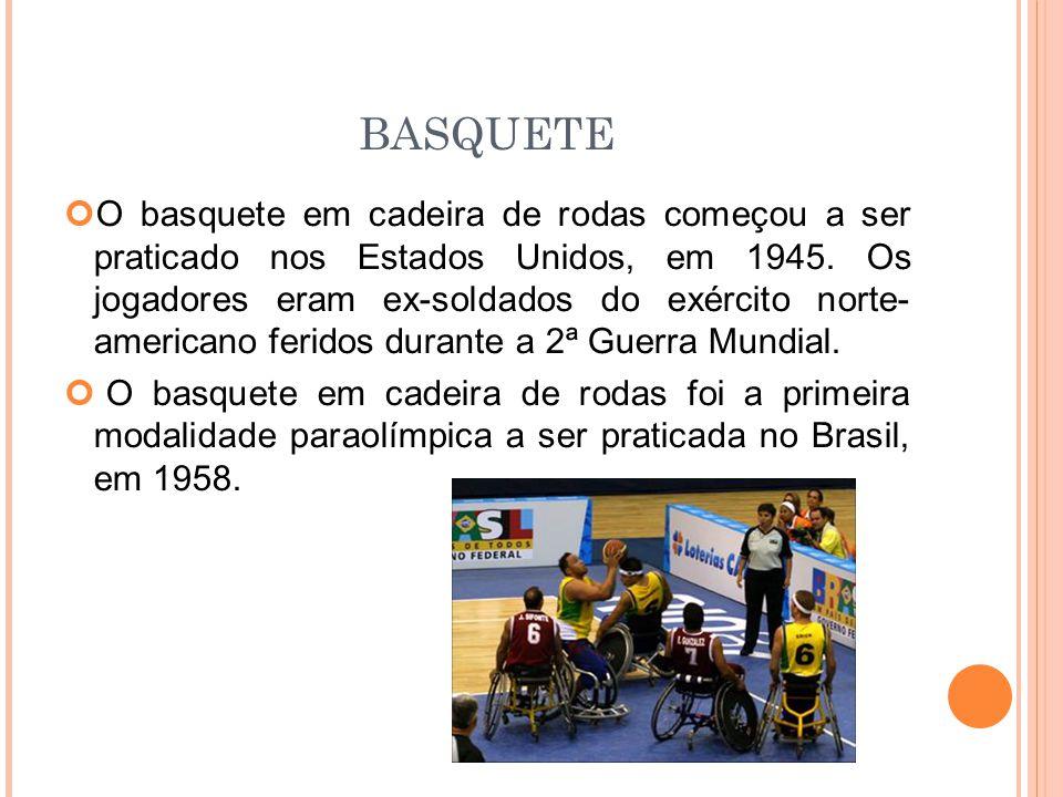 BASQUETE O basquete em cadeira de rodas começou a ser praticado nos Estados Unidos, em 1945.
