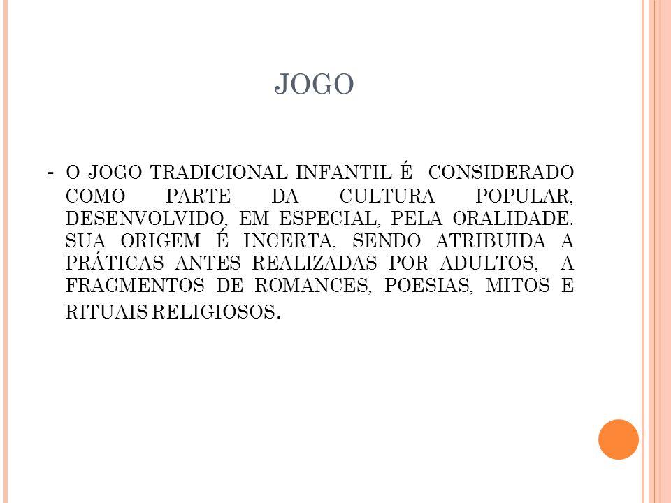JOGO - O JOGO TRADICIONAL INFANTIL É CONSIDERADO COMO PARTE DA CULTURA POPULAR, DESENVOLVIDO, EM ESPECIAL, PELA ORALIDADE.