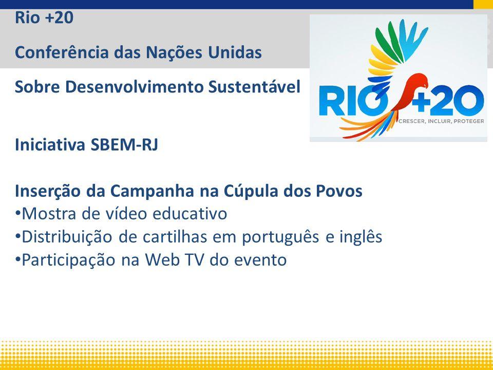 Rio +20 Conferência das Nações Unidas Sobre Desenvolvimento Sustentável Iniciativa SBEM-RJ Inserção da Campanha na Cúpula dos Povos Mostra de vídeo educativo Distribuição de cartilhas em português e inglês Participação na Web TV do evento