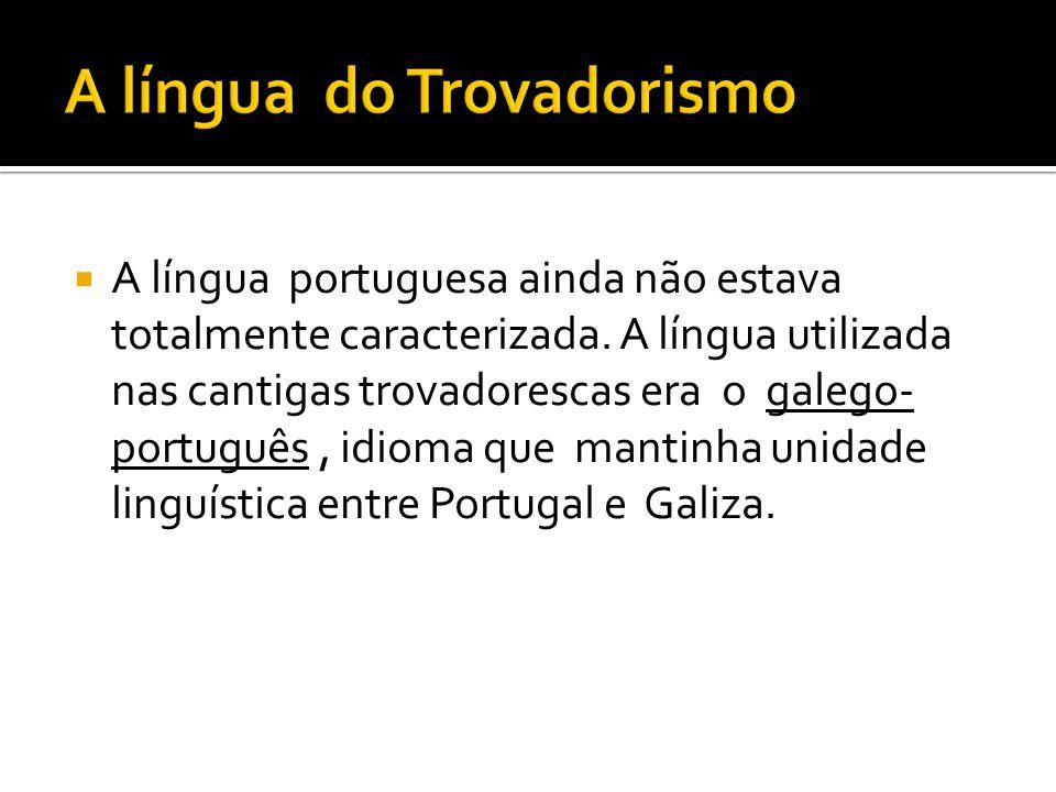  A língua portuguesa ainda não estava totalmente caracterizada. A língua utilizada nas cantigas trovadorescas era o galego- português, idioma que man