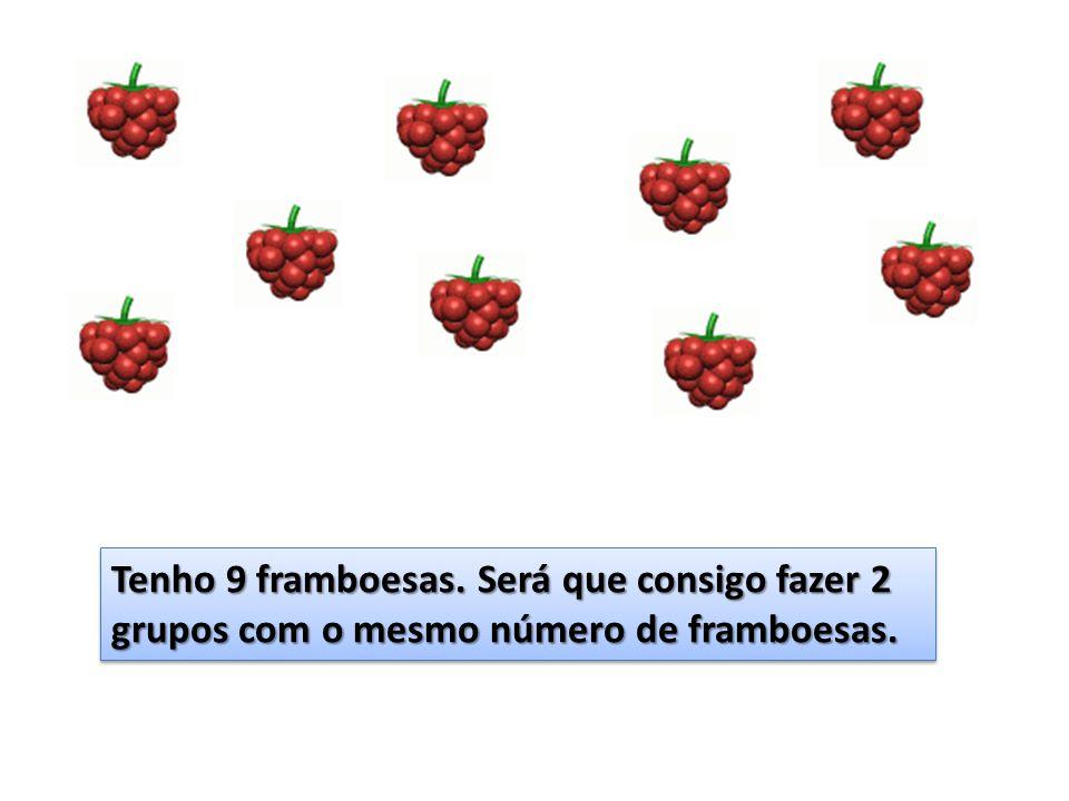 Tenho 9 framboesas. Será que consigo fazer 2 grupos com o mesmo número de framboesas.