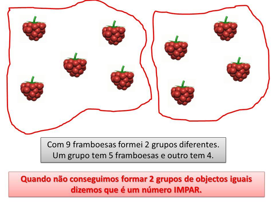 Com 9 framboesas formei 2 grupos diferentes. Um grupo tem 5 framboesas e outro tem 4. Quando não conseguimos formar 2 grupos de objectos iguais dizemo