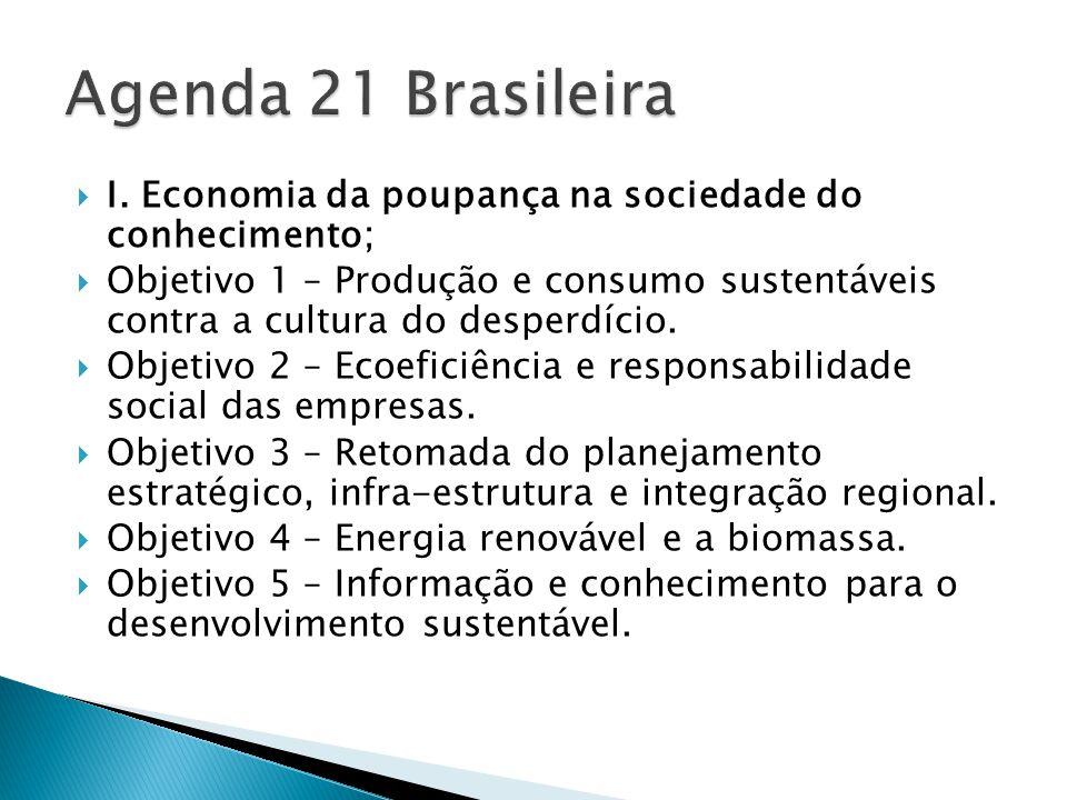  I. Economia da poupança na sociedade do conhecimento;  Objetivo 1 – Produção e consumo sustentáveis contra a cultura do desperdício.  Objetivo 2 –