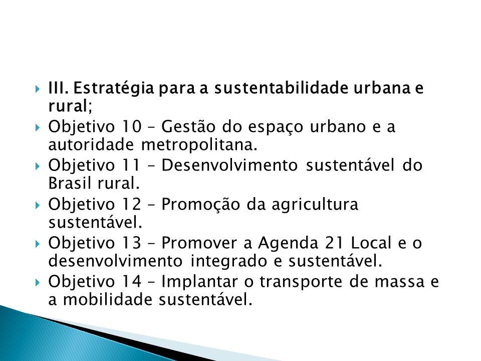  III. Estratégia para a sustentabilidade urbana e rural;  Objetivo 10 – Gestão do espaço urbano e a autoridade metropolitana.  Objetivo 11 – Desenv
