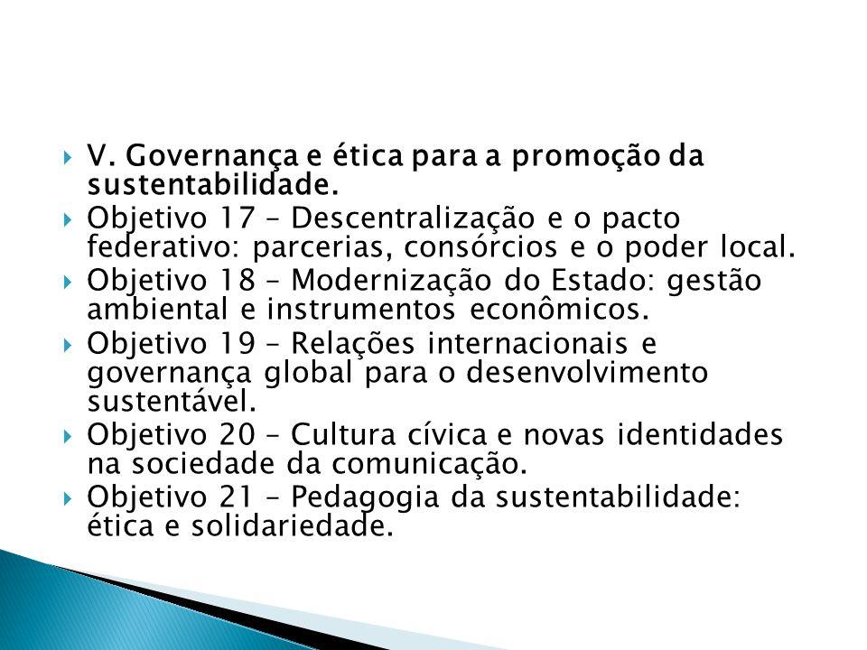  V. Governança e ética para a promoção da sustentabilidade.  Objetivo 17 – Descentralização e o pacto federativo: parcerias, consórcios e o poder lo